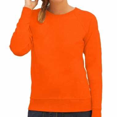 Sweater / sweatshirt trui oranje met ronde hals en raglan mouwen voor dames koningsdag / supporter