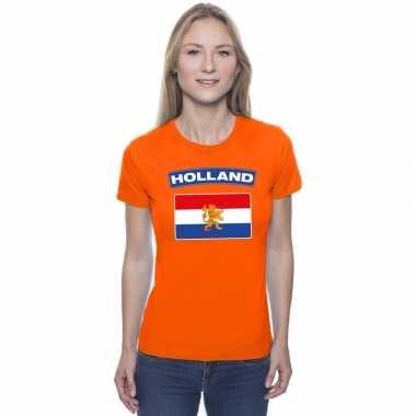 T-shirt hollandse vlag oranje dames