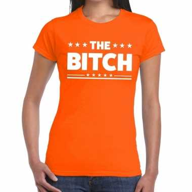The bitch fun t-shirt oranje voor dames