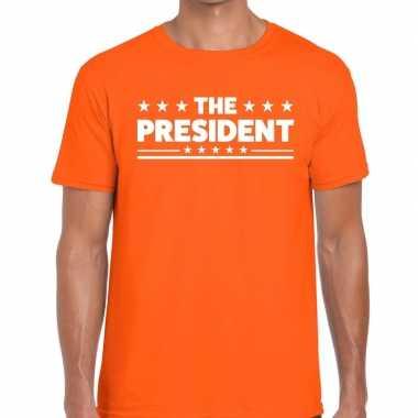 The president fun t-shirt oranje voor heren