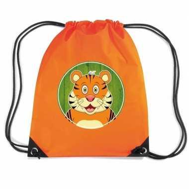 Tijger dieren trekkoord rugzak / gymtas oranje voor kinderen
