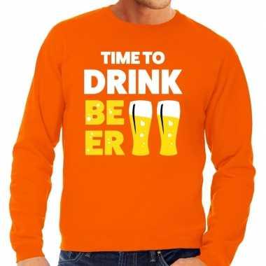 Time to drink beer fun sweater oranje voor heren