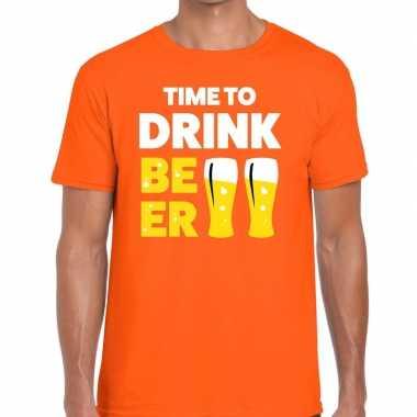 Time to drink beer fun t-shirt oranje voor heren