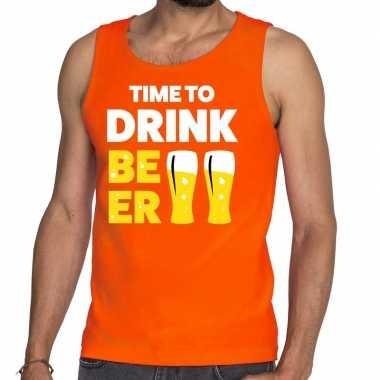 Time to drink beer fun tanktop / mouwloos shirt oranje voor heren