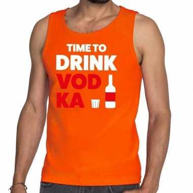 Time to drink vodka fun tanktop / mouwloos shirt oranje voor heren