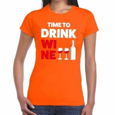 Time to drink wine fun t-shirt oranje voor dames
