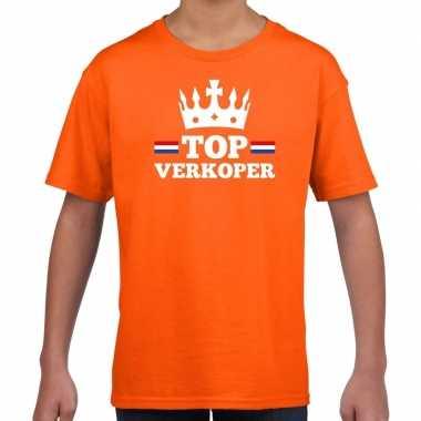 Top verkoper met kroontje t-shirt oranje kinderen