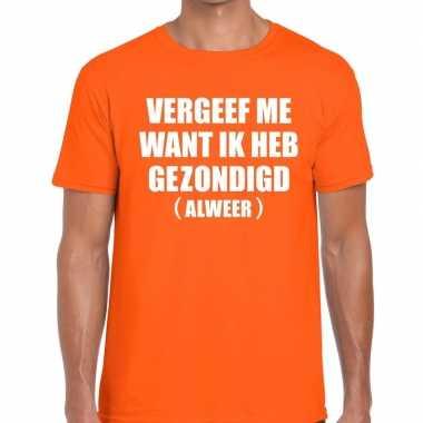 Vergeef me fun t-shirt oranje voor heren