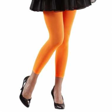 Verkleed legging neon oranje voor dames