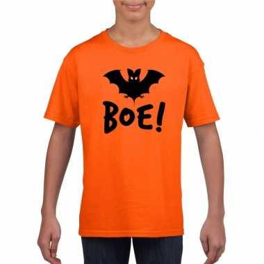 Vleermuis halloween t-shirt oranje voor jongens en meisjes
