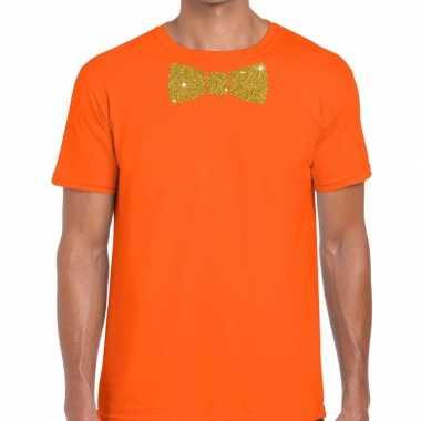 Vlinderdas t-shirt oranje met glitter das heren