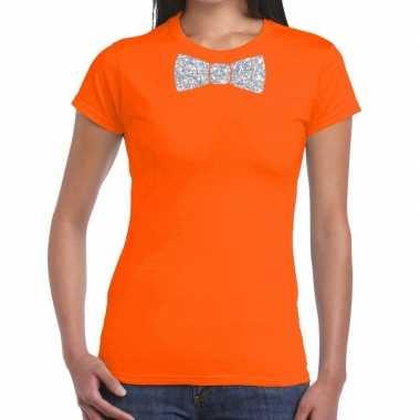 Vlinderdas t-shirt oranje met zilveren glitter strikje dames