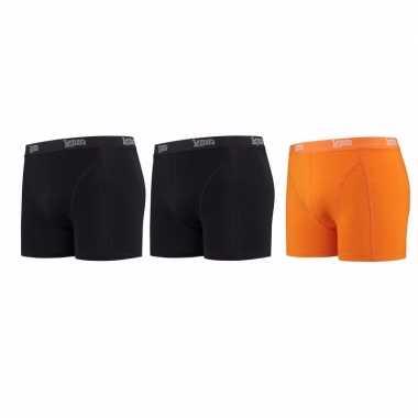 Voordeelpakket lemon and soda boxers zwart en oranje 3 stuks 2xl