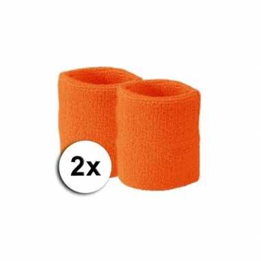 Voordelige oranje zweetbandjes set
