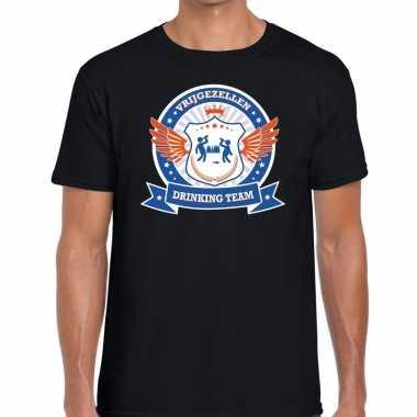 Vrijgezellenfeest blauw oranje drinking team t-shirt zwart heren