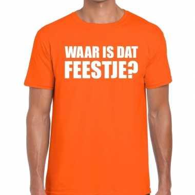 Waar is dat feestje fun t-shirt voor heren oranje