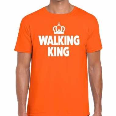 Walking king oranje fun-t shirt voor heren