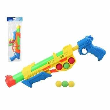 Watergeweer met pomp en 6 balletjes oranje/blauw 47 cm