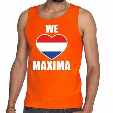 We love maxima tanktop/mouwloos shirt oranje heren