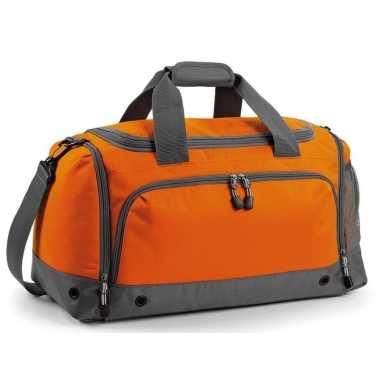 Weekendtas/sporttas oranje/grijs 30 liter