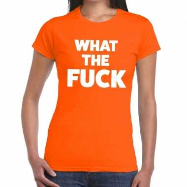 What the fuck fun t-shirt oranje voor dames