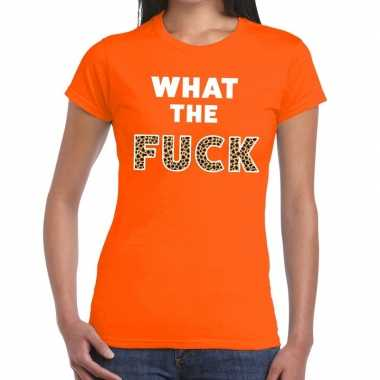 What the fuck tijgerprint fun t-shirt oranje voor dames