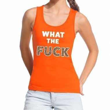What the fuck tijgerprint fun tanktop / mouwloos shirt oranje voor da