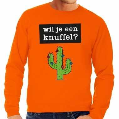 Wil je een knuffel fun sweater oranje voor heren