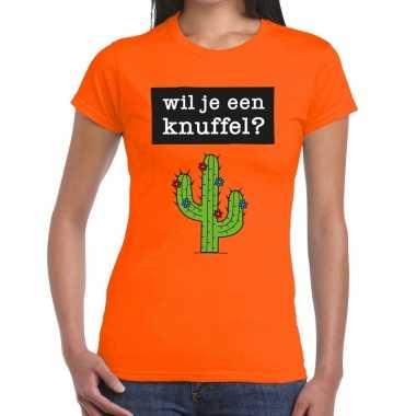 Wil je een knuffel fun t-shirt oranje voor dames