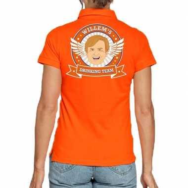 Willems drinking team polo t-shirt oranje met kroon voor dames