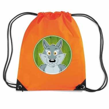 Wolf dieren trekkoord rugzak / gymtas oranje voor kinderen
