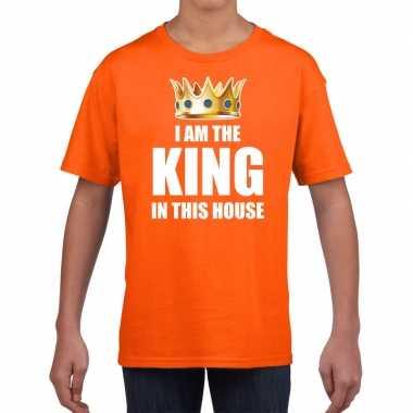 Woningsdag im the king in this house t-shirts voor thuisblijvers tijdens koningsdag oranje jongens / kinderen
