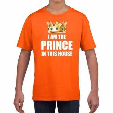 Woningsdag im the prince in this house t-shirts voor thuisblijvers tijdens koningsdag oranje jongens / kinderen