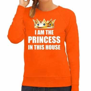 Woningsdag im the princess in this house sweater / trui voor thuisblijvers tijdens koningsdag oranje dames