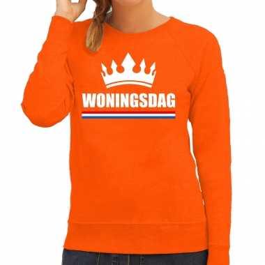 Woningsdag sweaters / trui voor thuisblijvers tijdens koningsdag oranje dames