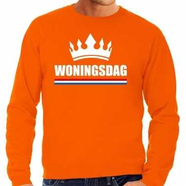 Woningsdag sweaters / trui voor thuisblijvers tijdens koningsdag oranje heren