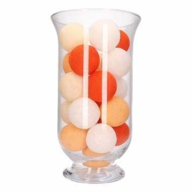 Woondecoratie oranje verlichting in vaas