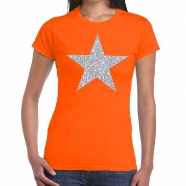 Zilveren ster glitter fun t-shirt oranje voor dames