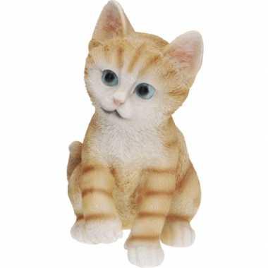 Zittende katten beeldje oranje 19 cm