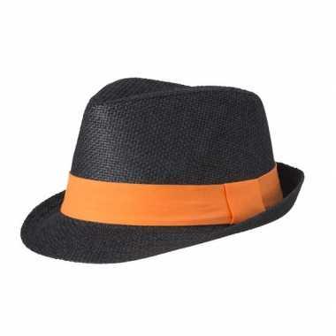 Zwart gevlochten hoedje met oranje band
