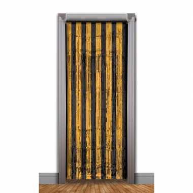 Zwart met oranje deurgordijn folie 240 cm