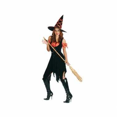 Zwart met oranje heksen kostuum