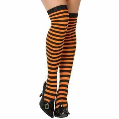 Zwart met oranje verkleed kousen voor dames