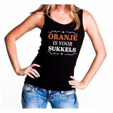 Zwart oranje is voor sukkels tanktop dames