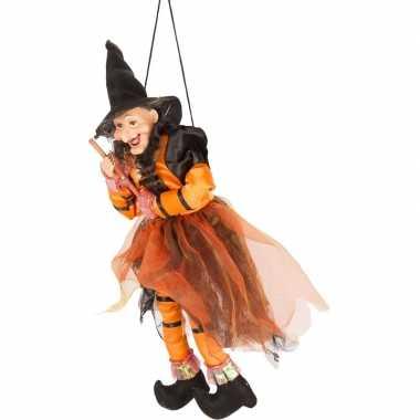 Zwart/oranje vliegende heksen halloween decoratie pop/figuur 45 cm