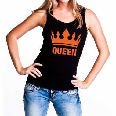 Zwart queen met oranje kroon tanktop / mouwloos shirt dames
