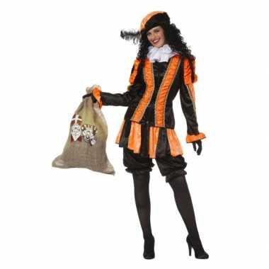 Zwarte pieten kostuum dames oranje
