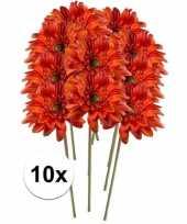 10x kunstbloemen steelbloem oranje gerbera 47 cm