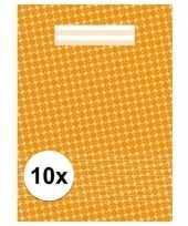 10x schoolspullen schrift a4 gelinieerd oranje