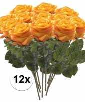 12 x kunstbloemen steelbloem geel oranje roos simone 45 cm